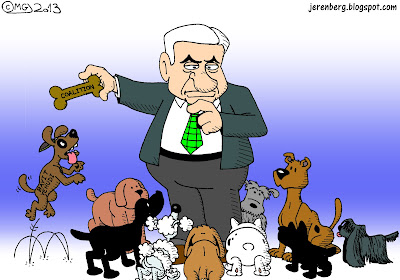 binyamin bibi netanyahu man surrounded by dogs holding doggy biscuit coalition puppy jumping bayit yehudi