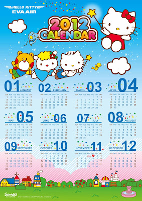 Hello Kitty free printable 2012 calendar or calendar for desktop wallpaper background 5166x7308