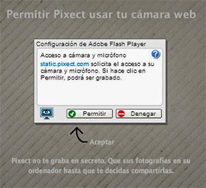 Permitir a Pixect usar tu cámara web