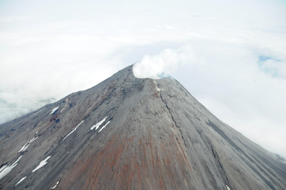 The Cleveland Volcano in the Aleutian Islands erupts steam and ash emissions