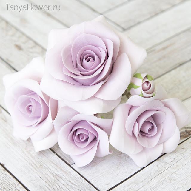 шпильки с сиреневыми розами из полимерной глины на свадьбу