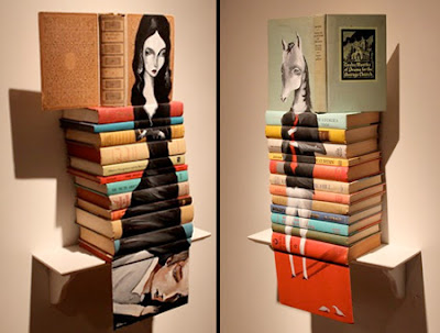 Old Books Used as Canvas