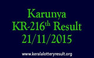 Karunya KR 216 Lottery Result 21-11-2015