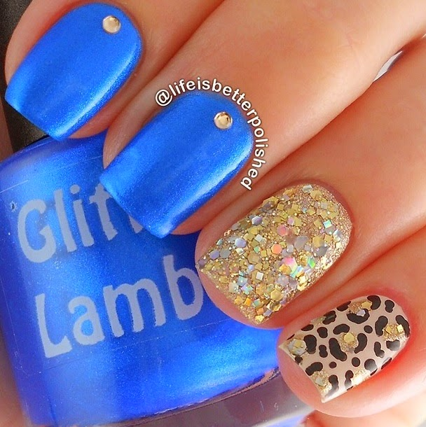 Butter Cream Cake Nails: Blue ButterCream Icing Glitter Topper Nail Polish By