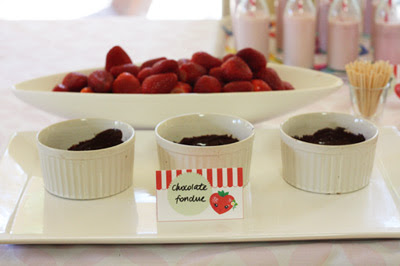 Strawberry Birthday Party chocolate fondue