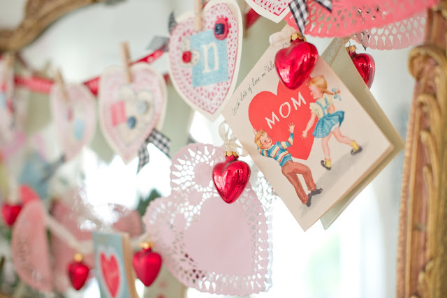 Domestic fashionista vintage and handmade inspired Valentine stage decorations