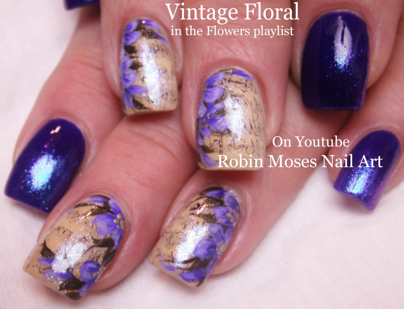 Robin moses nail art sharpie pens used for lavender vintage sharpie pens used for lavender vintage flower nail art design for beginners tutorial up today prinsesfo Choice Image
