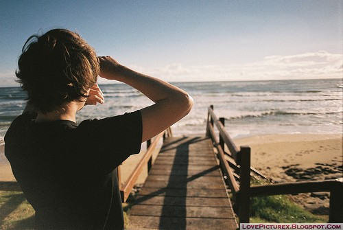 alone boy sad cute beach