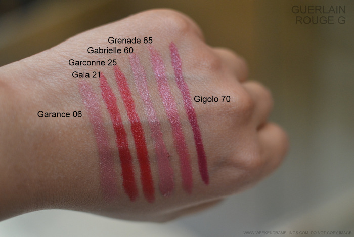 Rouge G de Guerlain Jewel Lipstick Swatches Garance 06 Gala 21 Garconne 25 Gabrielle 60 Grenade 65 Gigolo 70 Makeup Beauty Indian Blog Photos
