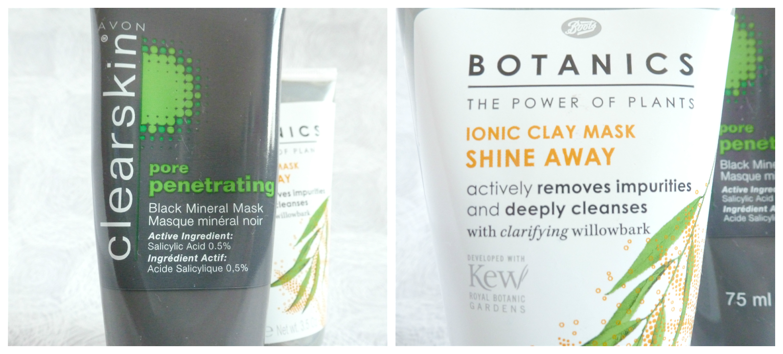 Avon clearskin pore penetrating mineral face mask and Boots Botanics iconic clay mask