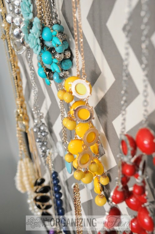 Jewelry hung by magnetic hooks :: OrganizingMadeFun.com