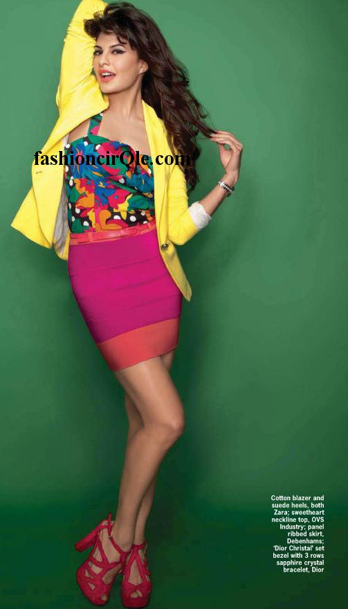 Jacqueline Fernandez in red short skirt, yellow jacket cosmopolitan -  Jacqueline Fernandez's Cosmopolitan Scans – April 2012