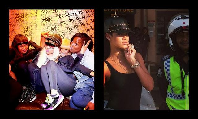 Rihanna and Nicki Minaj Selfie in House of Malakai Spiked Equestrian Hat