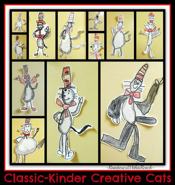 """""""Cats in Hats"""" Kindergarten Drawings via RainbowsWithinReach"""