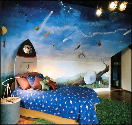 Decorating theme bedrooms maries manor outer space for Boys room mural