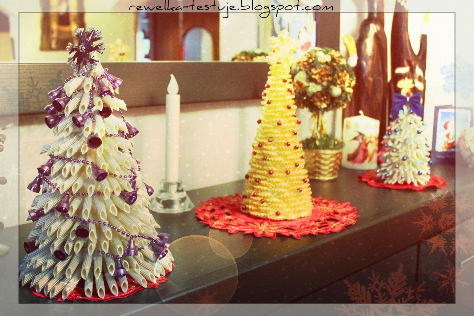 Świąteczne choinki z makaronu - DIY