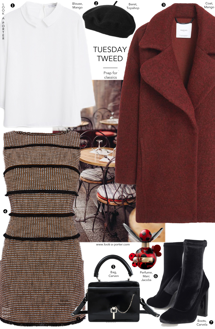 Classic tweed meets adorable blouse and a sweet cocoon coat. Via www.look-a-porter.com style & fashion blog