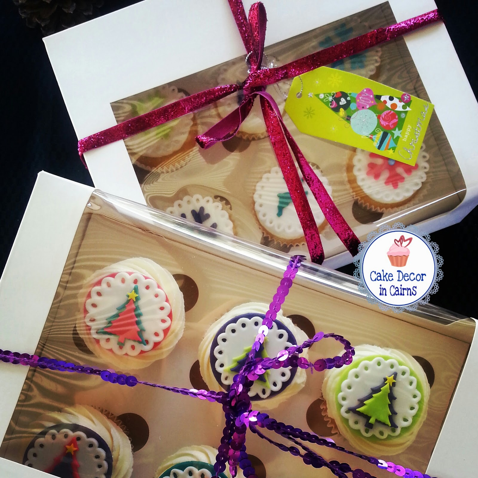 Gorgeous Christmas Cupcakes Boxed sets, Great teacher gift idea.