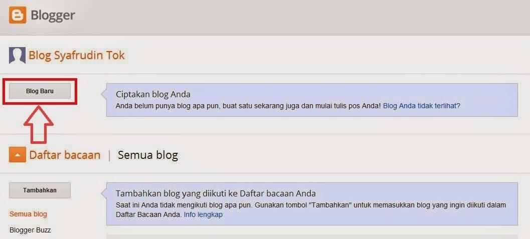 Setelah login klik buat blog baru di blogspot
