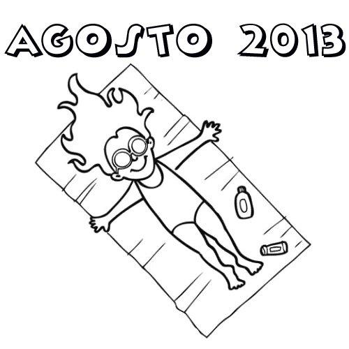 Dibujo de Niña tomando el sol en Vacaciones de Agosto 2013 para ...