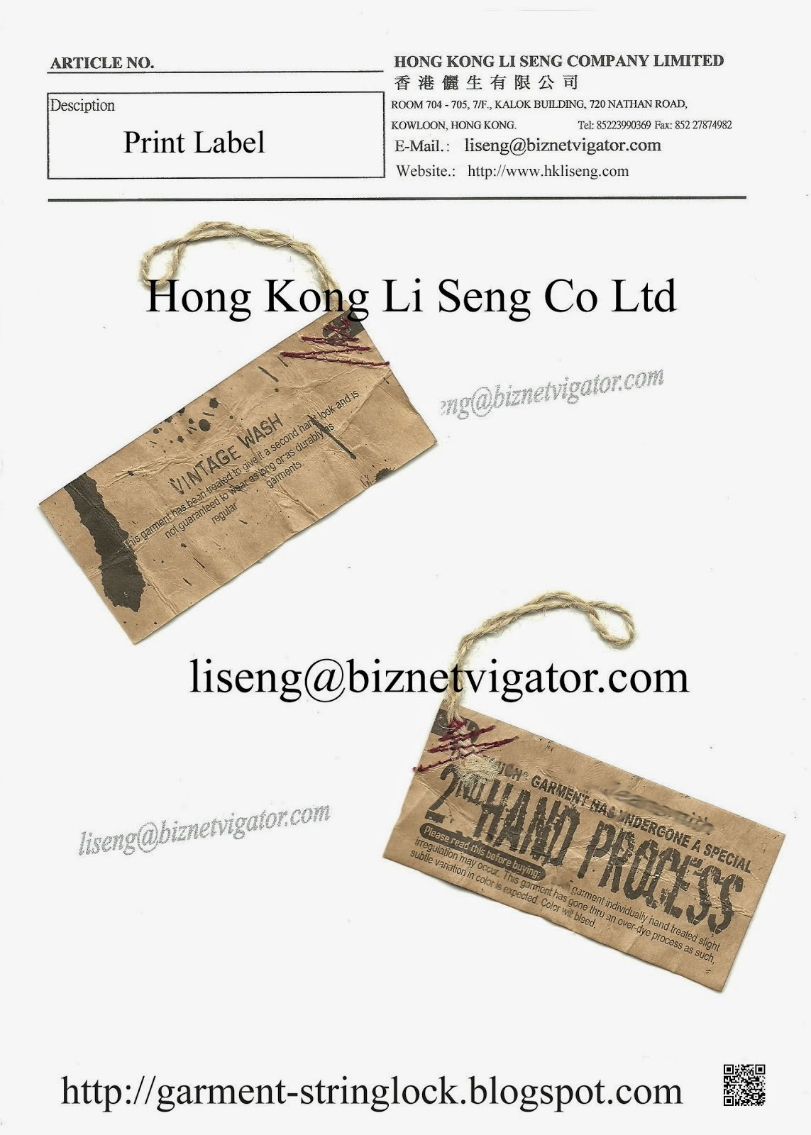 Garment Hemp Rope string lock With Paper Label Manufacturer - Hong Kong Li Seng Co Ltd