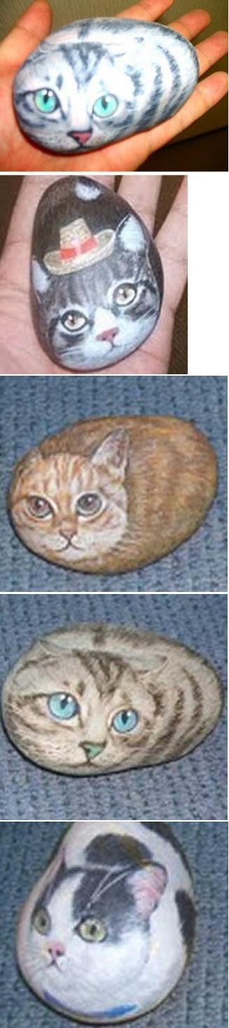 石に描いた猫_₍₍ (ง ˙ω˙)ว ⁾⁾<br>雑貨屋さんで昔販売してもらいました。<br>労力の割りに儲からないので今はしません!