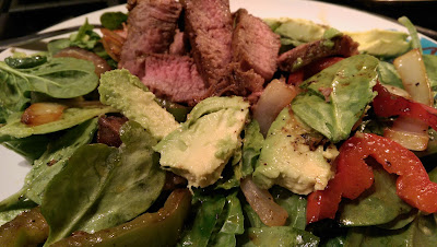 Steak Fajita Spinach Salad