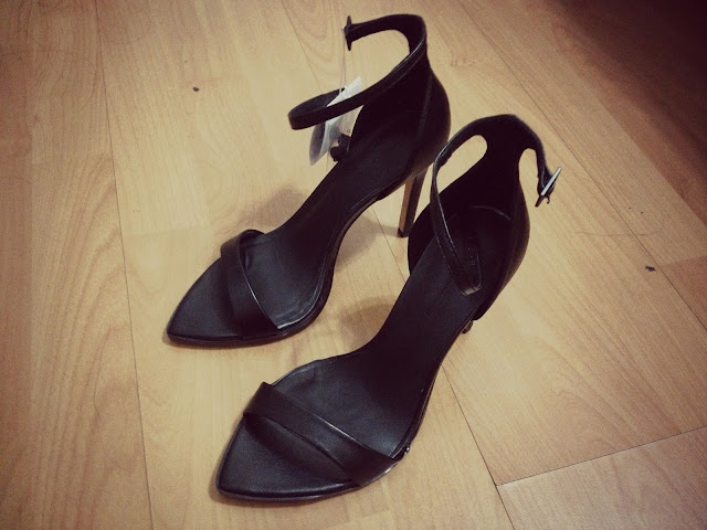 New In: Black Thin Ankle Strap Heels
