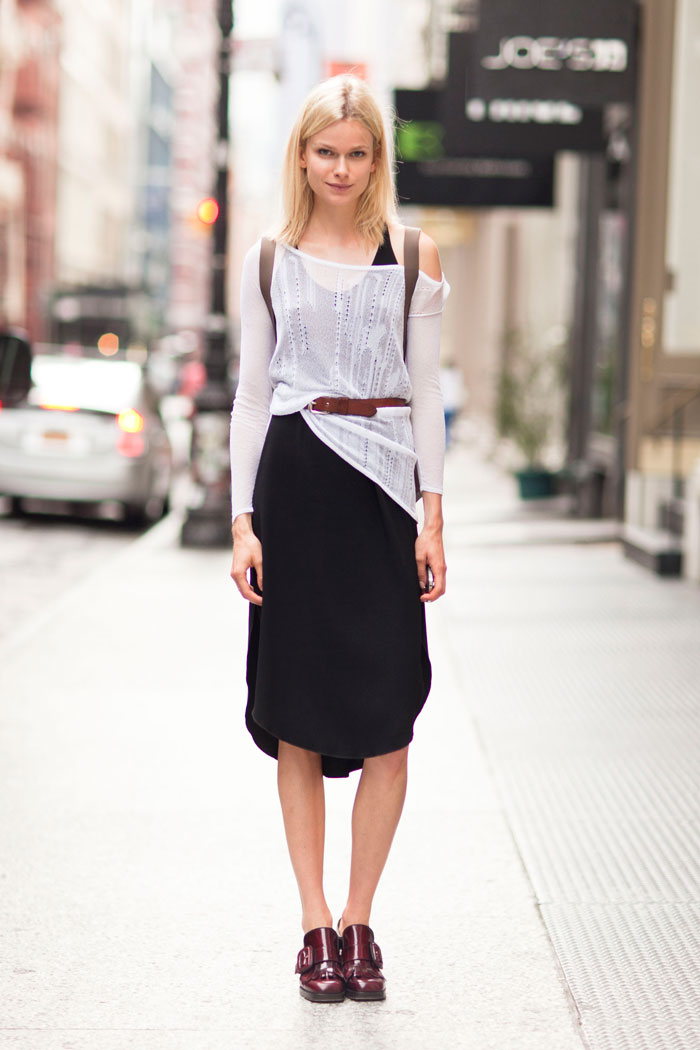 Karo Mrozkova wearing Helmut Lang top, Wilfred dress, vintage Levi's belt, Miu Miu shoes