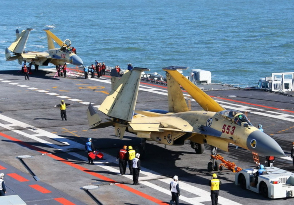 Chinese J-15 Fighter Jet Takes Off From CV16 Liaoning Aircraft Carrier ...
