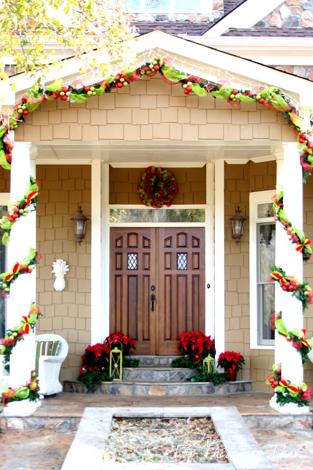 christmas decor outside the house - Front Door Entrance Christmas Decoration