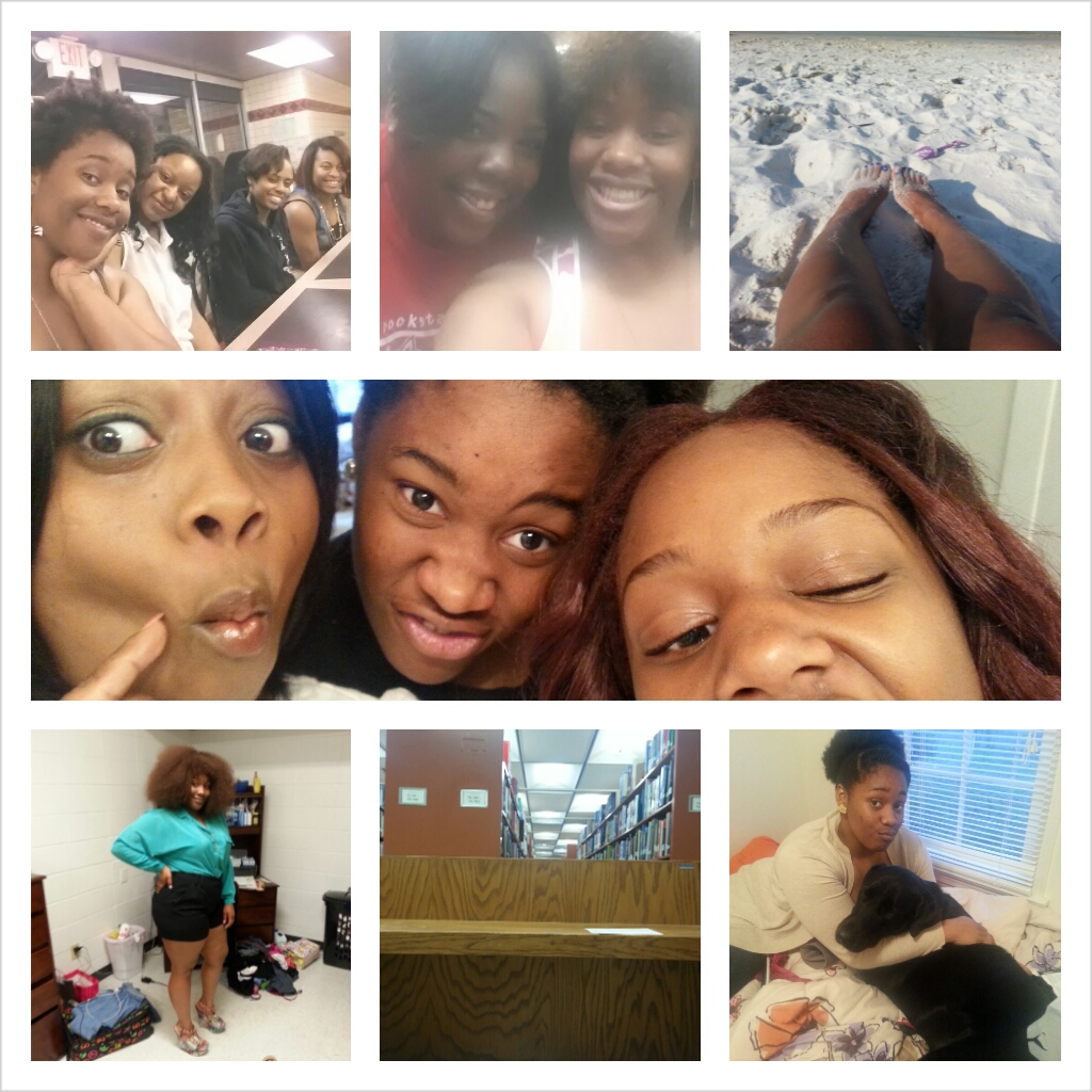 My photo collage includes portraits of my mother, my sister, and myself being very silly. A photo of my dog and I. Me at the beach, Waffle House, and the bowling alley with my friends.