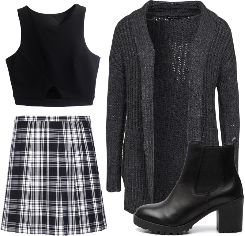 outfit with check skirt, invito heeded chelsea boots, nelly cardigan, crop top black