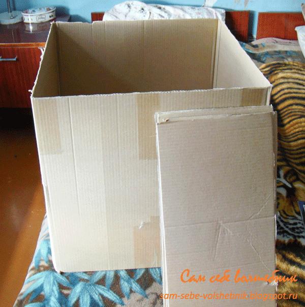 Плетеная коробка для хранения вещей из газет и старой картонной коробки