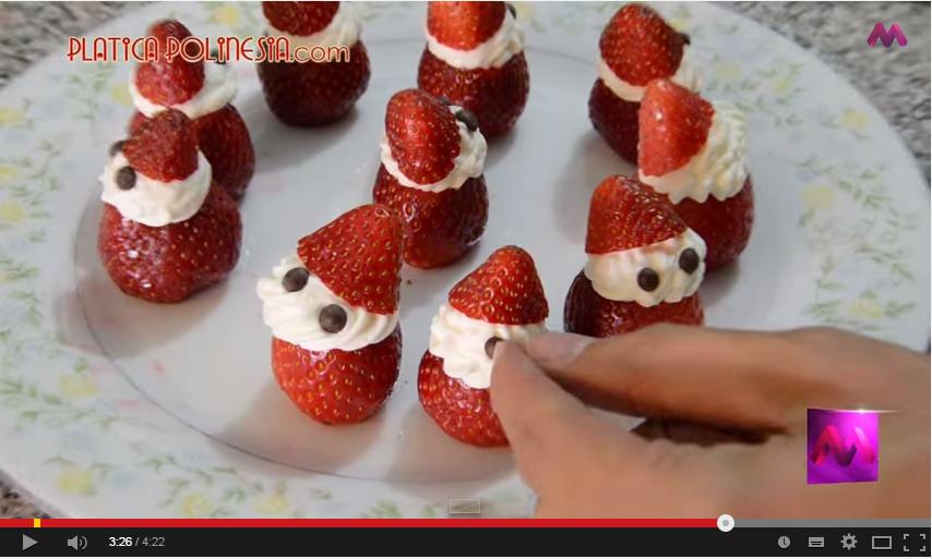 Video PAP postre fácil para hacer con los niños Frutillas con crema decoradas como Santa Claus