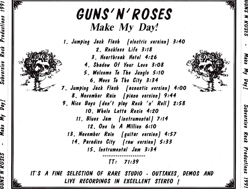 MUSIC ART VCL: Guns N' Roses - Make My Day (Rare Tracks) 1991