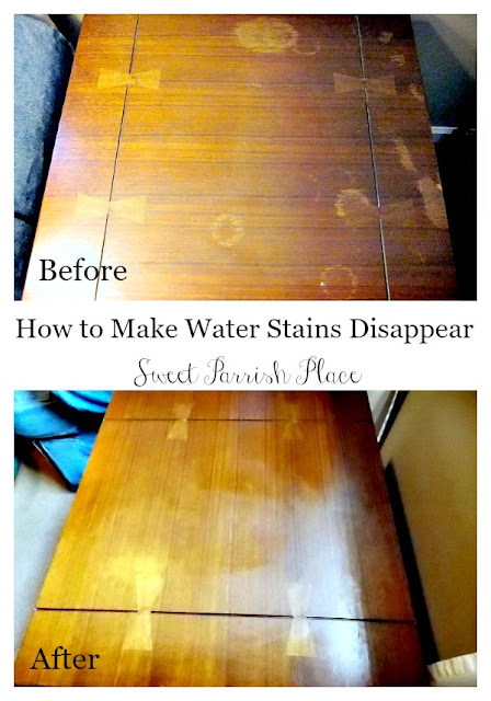 Trashtastic Tuesday How To Remove Water Stains From Wood Sweet Parrish Place - How Do You Remove A Watermark From Wooden Table