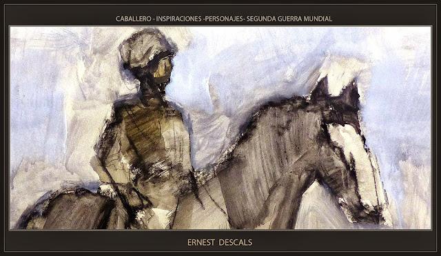 CABALLERO-CABALLERIA-OFICIAL-ARTE-PINTURA-SEGUNDA GUERRA MUNDIAL-PERSONAJES-ARTISTA-PINTOR-ERNEST DESCALS-