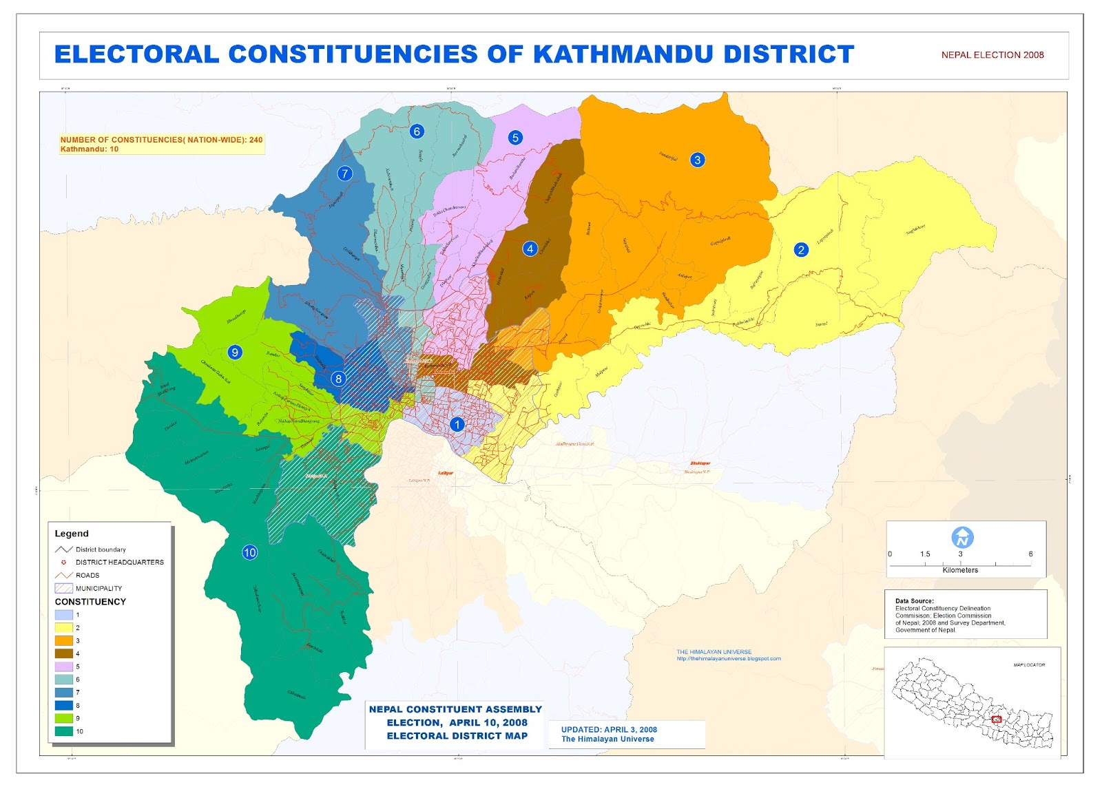 THE HIMALAYAN UNIVERSE Constituency Map of Kathmandu District and