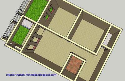gambar Denah rumah sederhana minimalis - 3D