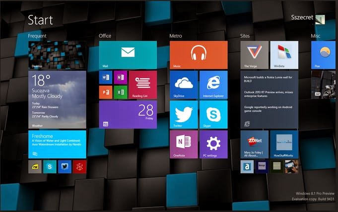 Windows 8.1 homescreen