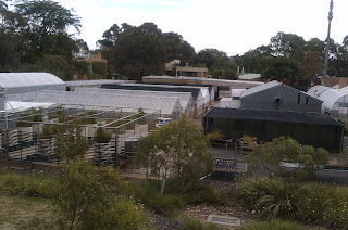 Greenhouse setup outside Fulton Hogan premises, Melbourne, Australia.