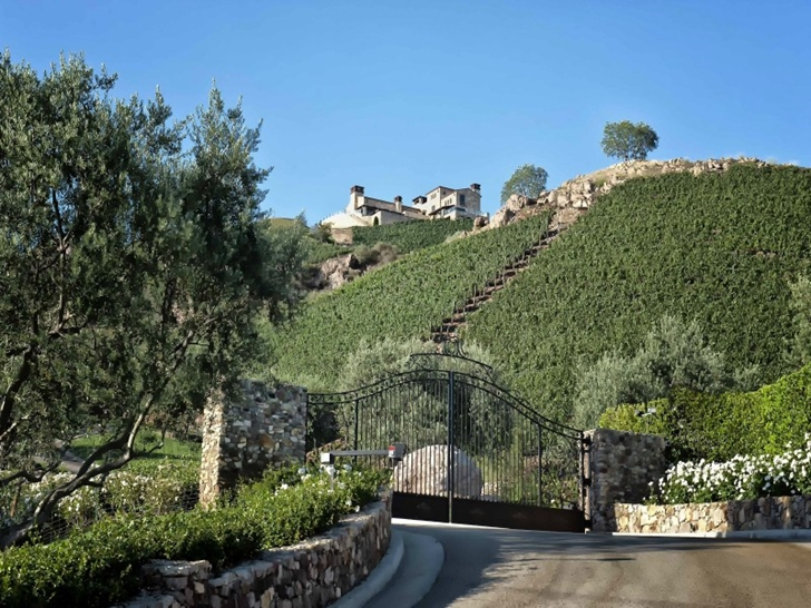 Gate of Mediterranean style vineyards home in Malibu