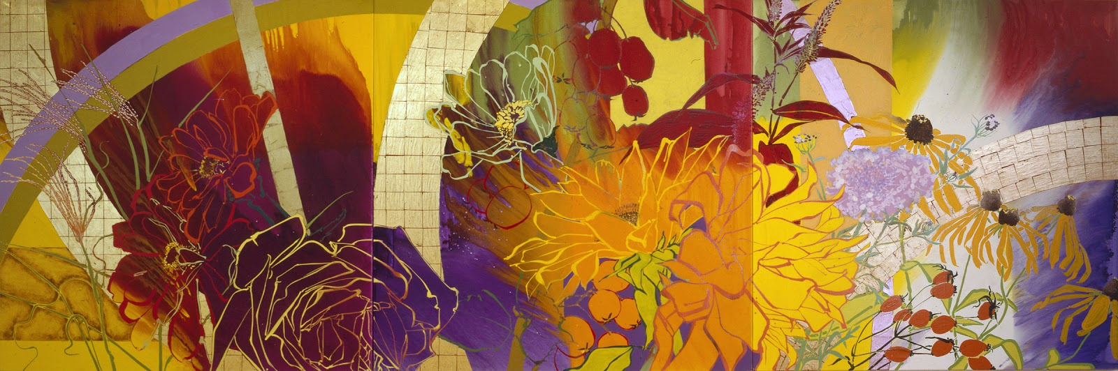 "Robert Kushner, ""Indian Summer – Homage to Bonnard"" (2000), oil, acrylic, and mixed media on canvas, 6 x 18 feet, from ""Flora: A Celebration of Flowers in Contemporary Art"""