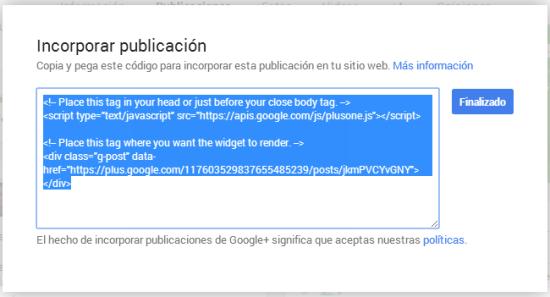 Incorporar Publicación - Código HTML