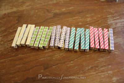 Pinzas decoradas con Washi Tape