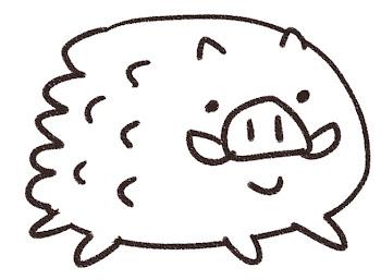 イノシシのイラスト(亥年・干支)線画
