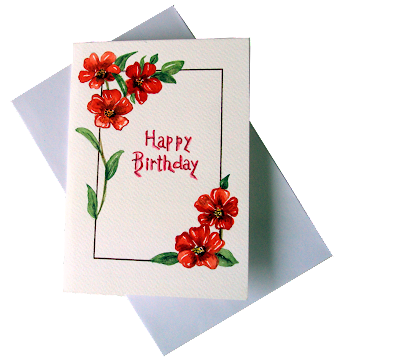 happy,birthday,greetingcard, painted,redflowers,whitebackground