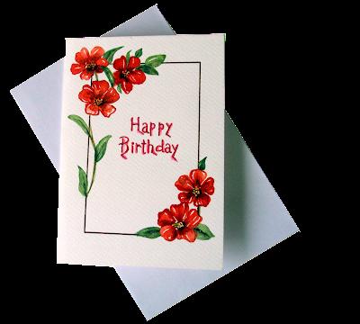 happy,birthday,greetingcard, painted,redflowers,whitebackground