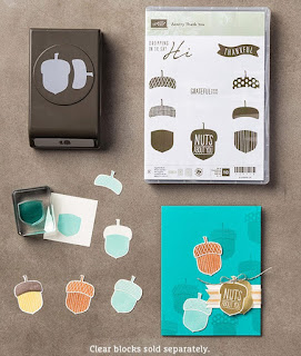 StampinUP!'s Acorny Thank-you stamp set and Acorn Punch